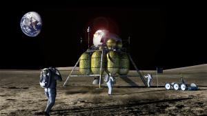 月面に着陸する宇宙飛行士(想像図)