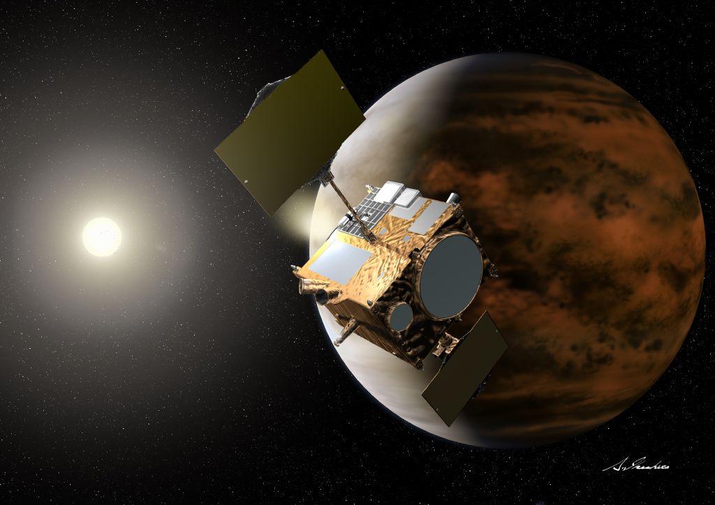金星周回軌道に投入される「あかつき」(想像図)