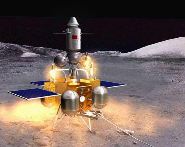 月面に着陸した嫦娥5号の想像図 (人民網日本語版より)