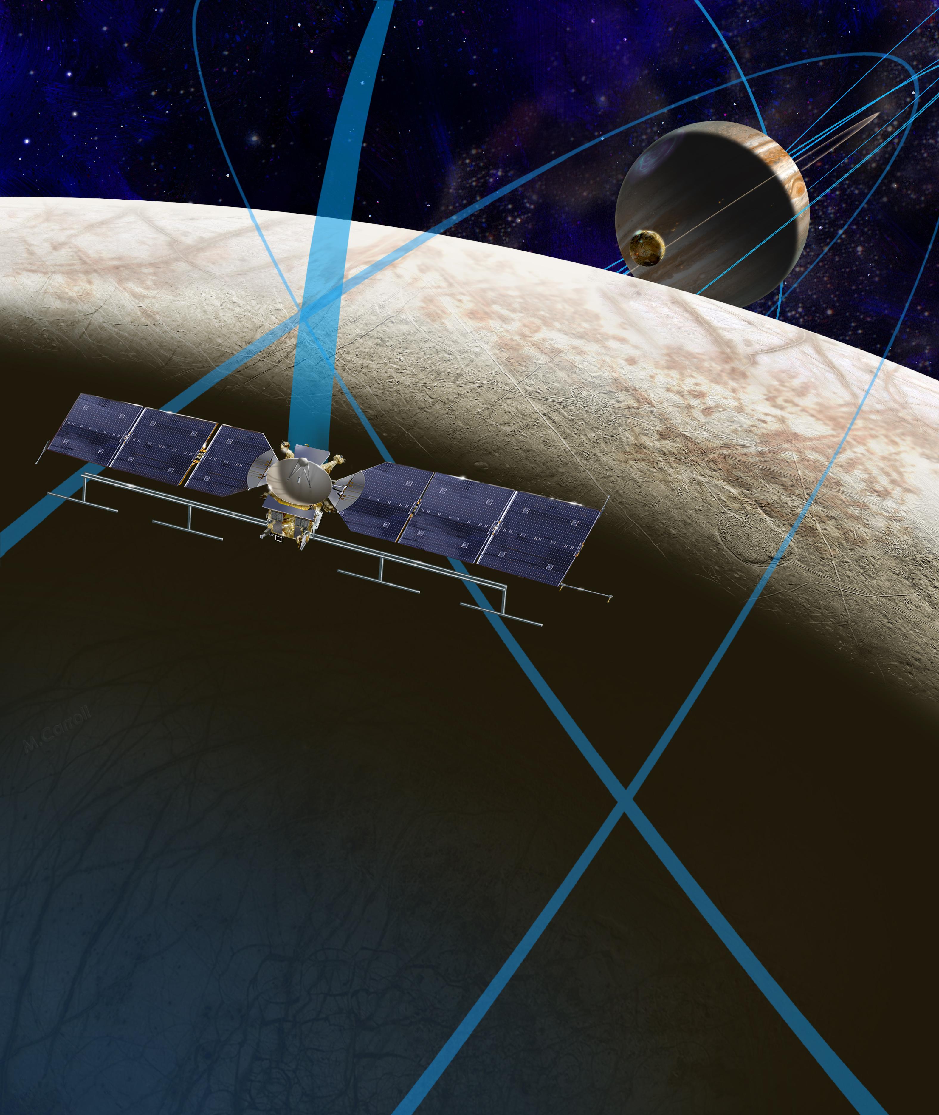 エウロパを周回するエウロパ・クリッパーの想像図 ((c) NASA/JPL-Caltech)