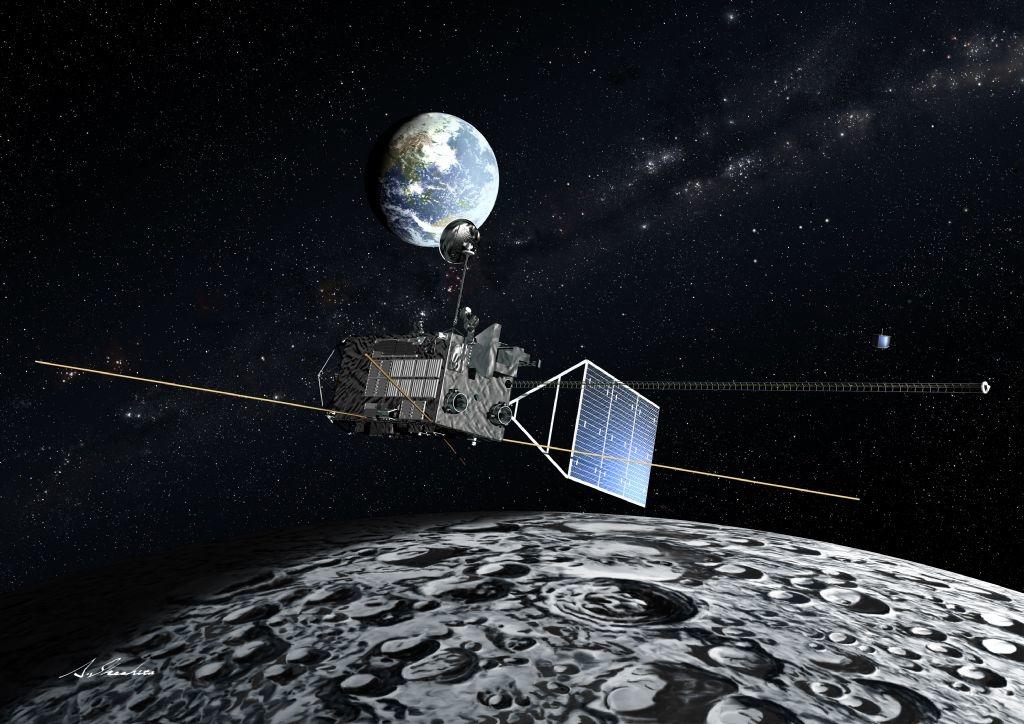 月上空を飛行する「かぐや」の想像図