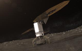 岩をつかんで離陸する小惑星捕獲機の想像図