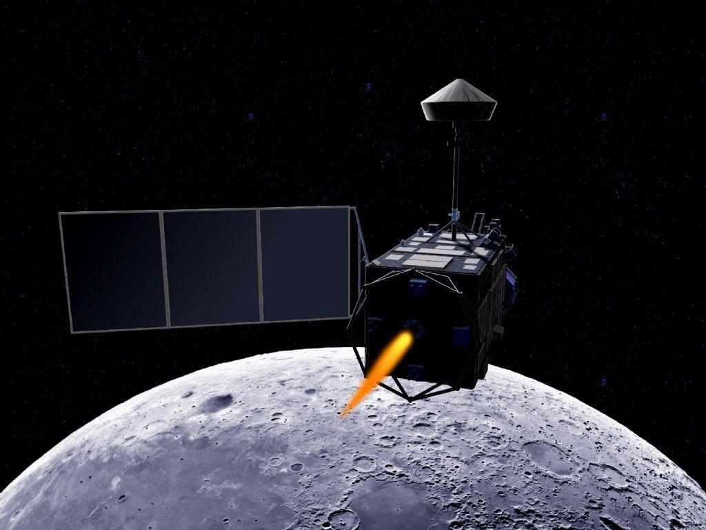 「かぐや」月周回軌道投入想像図