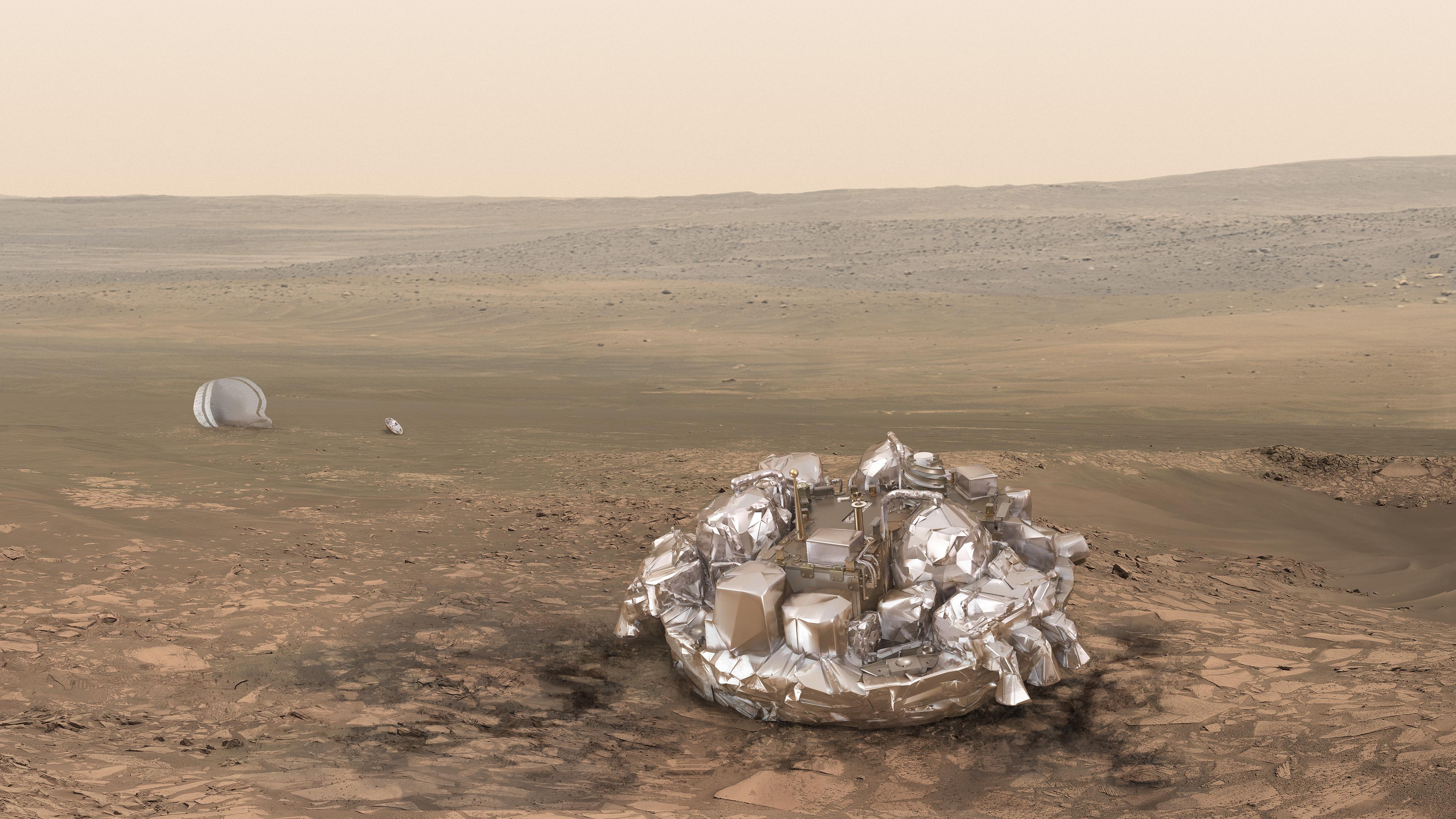 火星表面に着陸したスキアパレッリの想像図
