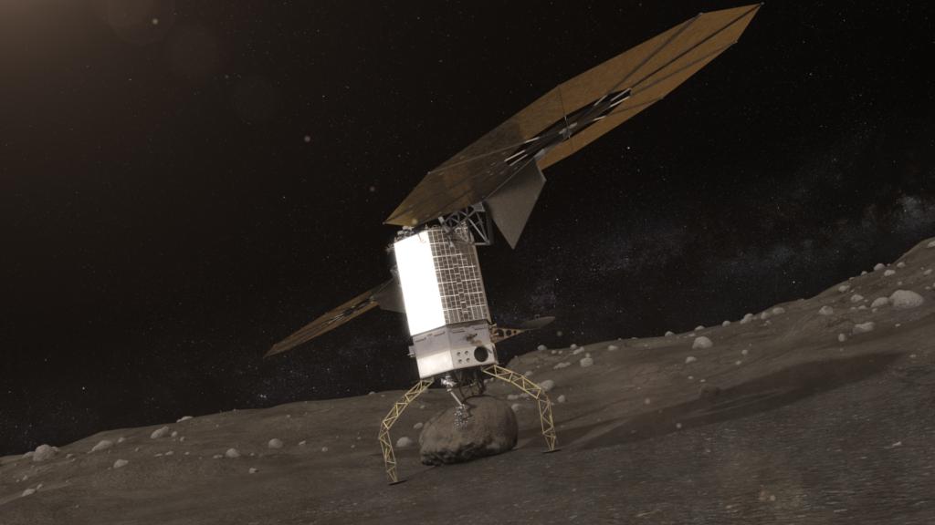 小惑星表面で岩をつかむアーム探査機