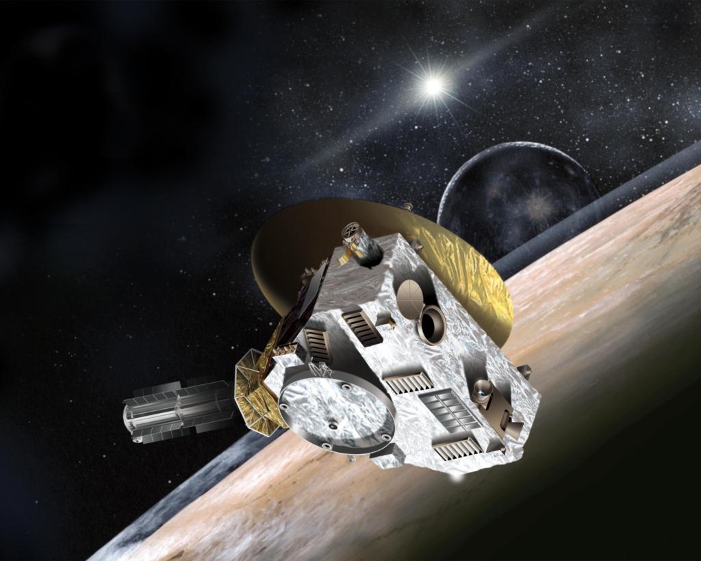 冥王星上空を飛行するニューホライズンズ探査機