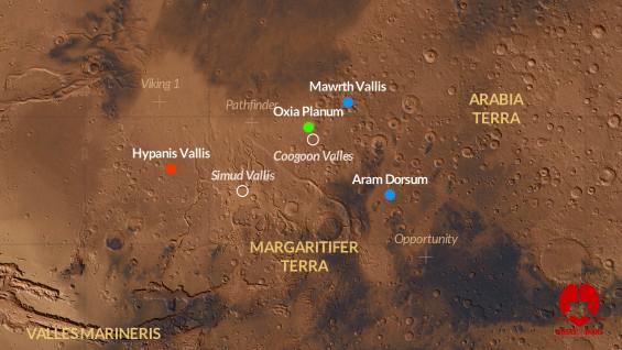 エクソマーズの3箇所の着陸点候補