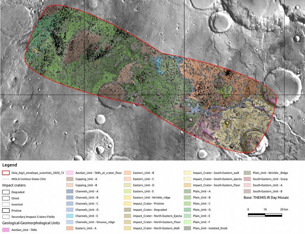 オクシア高原の地質・地形図