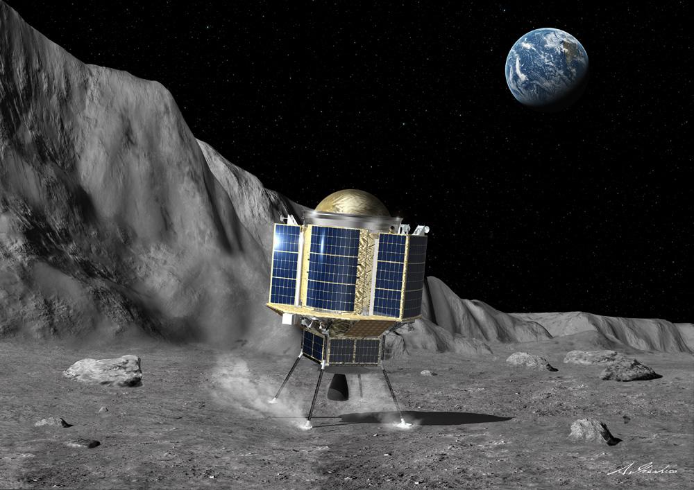 月に着陸したスリム探査機の想像図
