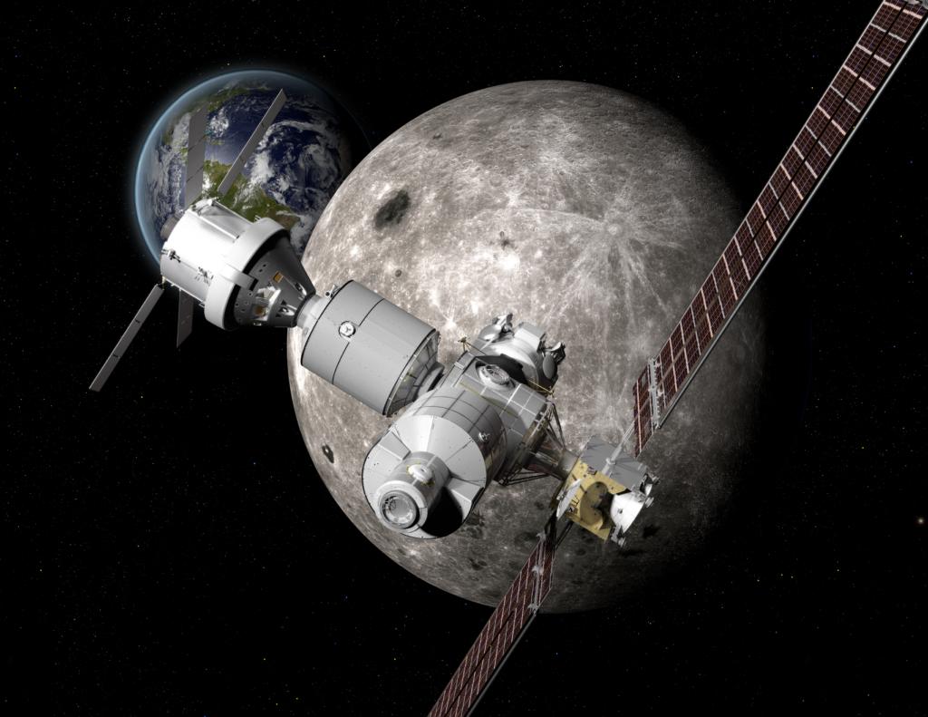 地球−月間の軌道上にある「ディープ・スペース・ゲートウェイ」の想像図
