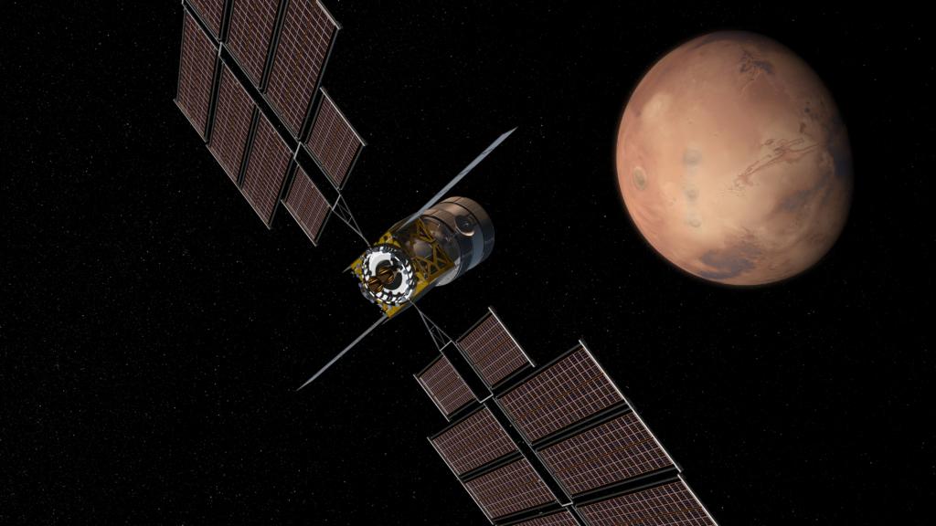 火星へと向かう有人宇宙船の想像図
