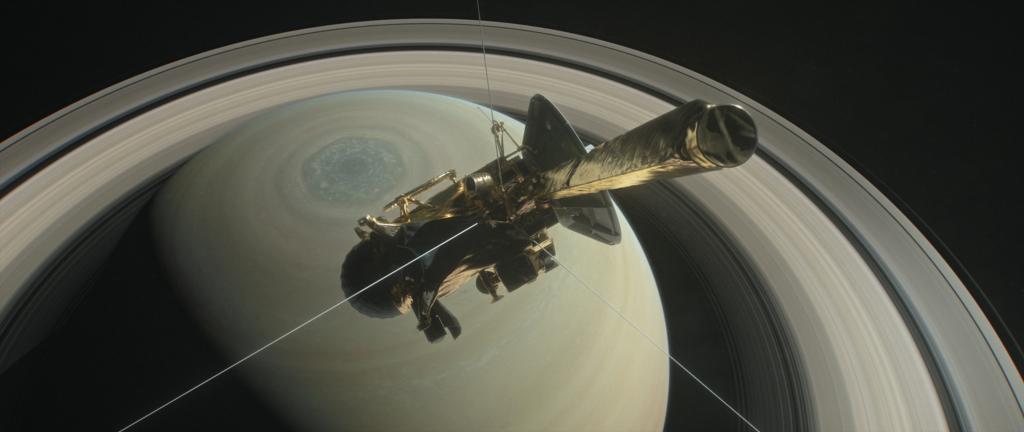カッシーニの「グランドフィナーレ」における飛行の想像図