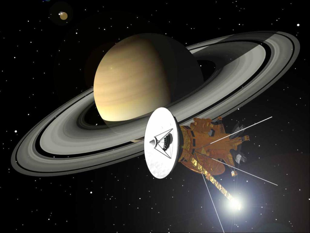 土星周回軌道に入るカッシーニ探査機の想像図