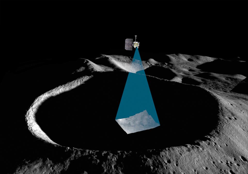 シャックルトン・クレーターの永久影を探査するシャドーカムの想像図