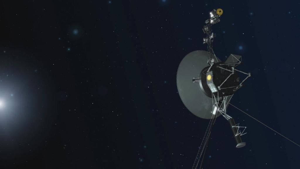 打ち上げから40年経過し太陽系を飛行中のボイジャー探査機の想像図