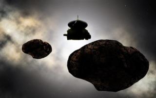 ウルティマ・トゥーレ(2014 MU69)に最接近して観測を行うニューホライズンズの想像図