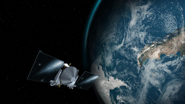 地球スイングバイを実施するオサイレス・レックス(オシリス・レックス)の想像図