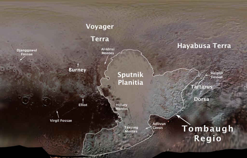 冥王星表面の地形名称