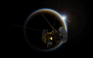 カッシーニのタイタン最後の最接近の想像図