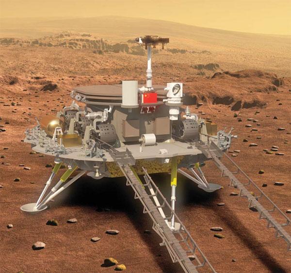 中国の火星着陸機・ローバー想像図