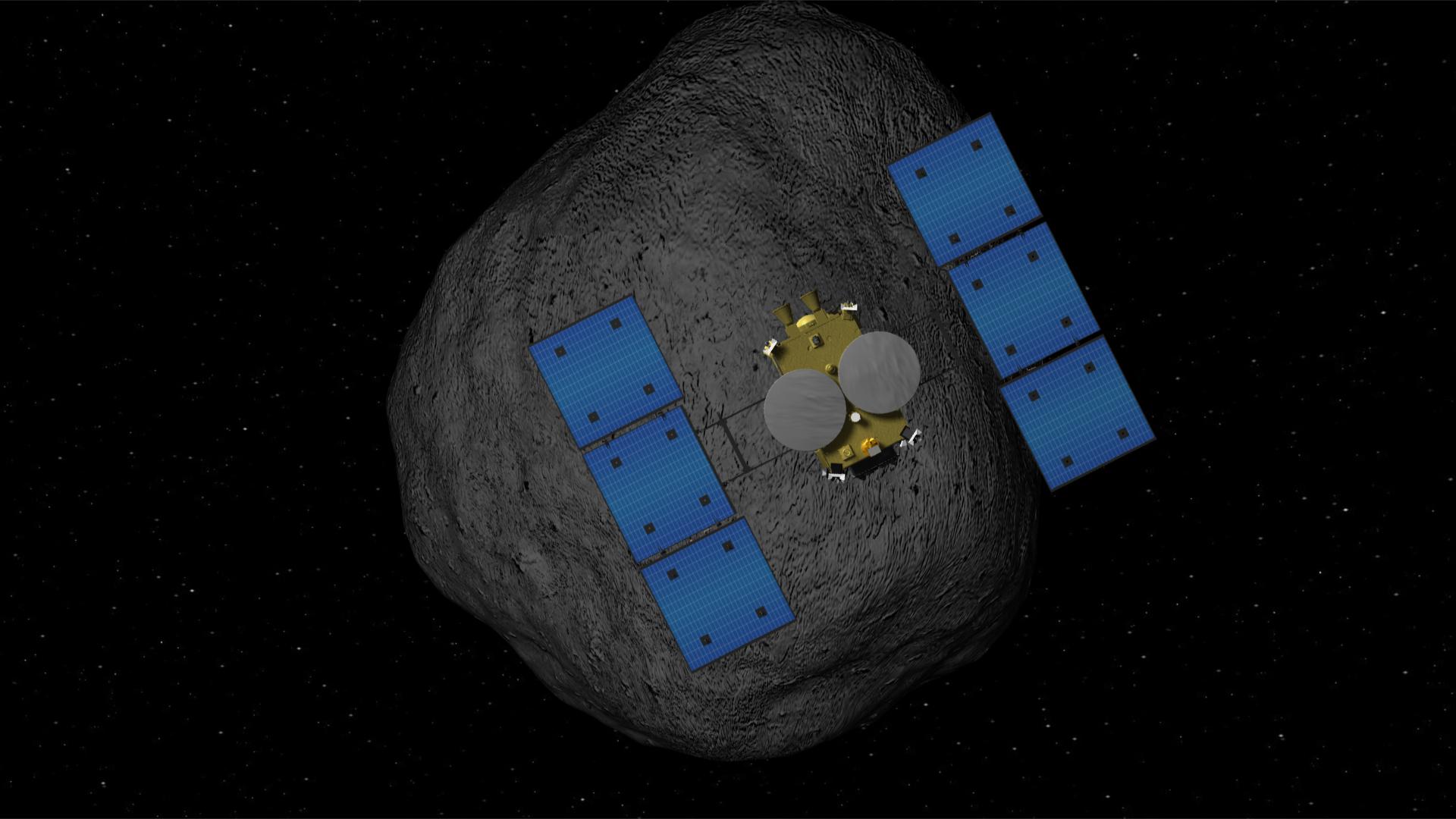 小惑星に到着する「はやぶさ2」の想像図