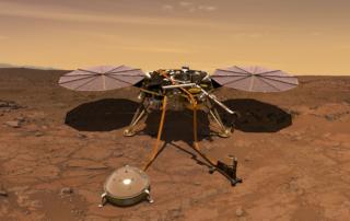 火星表面に着陸したインサイト探査機の想像図