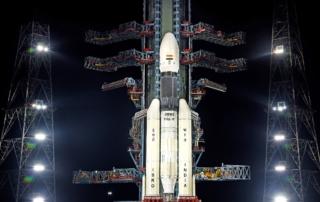 打ち上げを待つチャンドラヤーン2探査機