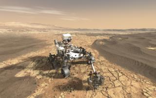 火星表面でサンプルを採集するマーズ2020ローバーの想像図