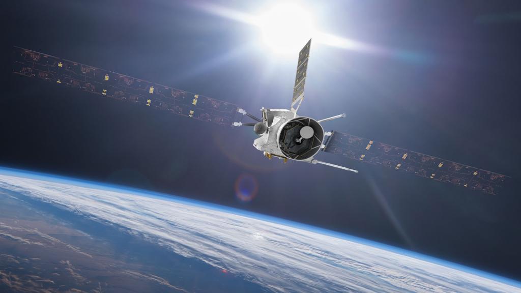地球スイングバイを行うベピ・コロンボの想像図