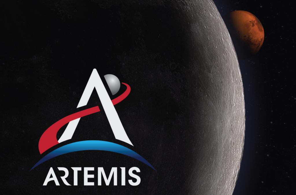アルテミス計画のイメージ(ロゴ、月、火星)