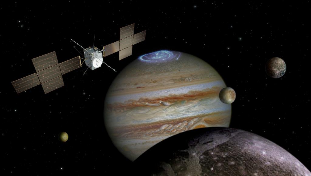 木星と木星の衛星を探査するジュース探査機の想像図